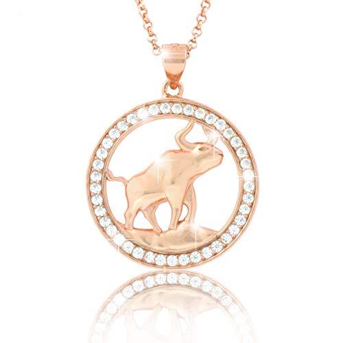 """'Pavel' s collar del zodiaco tauro Cadena Gallay Oro Rosado de la colección""""Eclipse con circonitas brillantes, incluye caja de regalo y echtheits Certificado"""