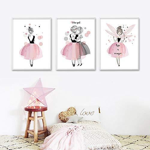 Affiche Fille Rose Deco Chambre Poster Enfant a3 Tableau Murale Decoration Impression sur toile 3 pieces sans Cadre