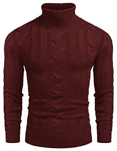 COOFANDY Jersey de punto con cuello de tortuga, ajustado, informal, con cable, para hombre, rojo oscuro, XXXL