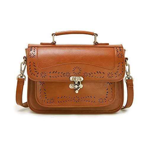 ECOSUSI Damen Umhängetasche Vintage Umhängetaschen Crossbody Schultertasche Damen Kunstleder Handtasche Messenger Tasche Khaki