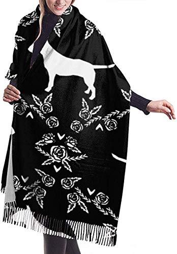 Bufandas del mantón del abrigo Bull Terrier Floral Dog Women's Fashion Long Shawl Winter Warm Large Scarf 77 x 27 inch/ 192 x 68 cm
