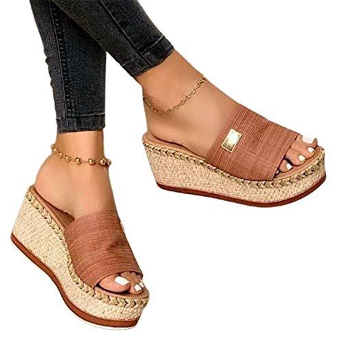 Damen Plateausandalen, modische Canvas Slip-on Peep Toe Schuhe mit hohen Absätzen Sommer Elegante Slingback Wedge Heel Beach Slipper,Light Brown,39