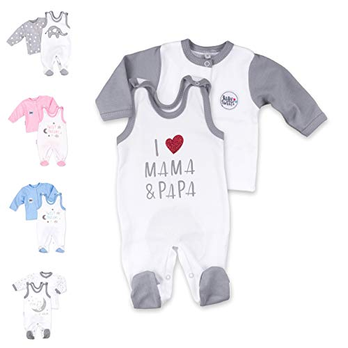 Baby Sweets 2er Strampler Set & Shirt für Mädchen und Jungen Verschiedene Größen, Grau - I Love Mama & Papa, 6 Monate (68)