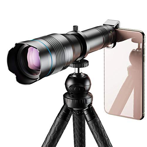 WQYRLJ HD Telefoon Telescoop, 60X Telefoon Zoom Nachtzicht Scope met Professionele Verstelbare Statief Afstandsbediening Shutter voor Smartphone Vogel Kijken Jagen Beste Geschenken voor Mannen