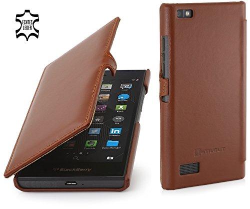 StilGut Book Type Hülle mit Clip, Hülle Leder-Tasche für BlackBerry Leap. Seitlich klappbares Flip-Hülle aus Echtleder für BlackBerry Leap, Cognac
