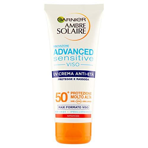 Garnier Ambre Solaire Solare Anti-Aging Creme mit Hyaluronsäure, schützt vor UV- und Rassoda die Haut, IP50+, 100 ml