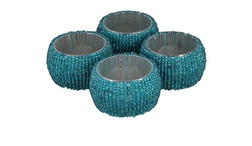 ShalinIndia Handmade Beaded Napkin Rings Set With 4 Turquoise Glass Beaded Napkin Holders - 1.5 Inch in Size