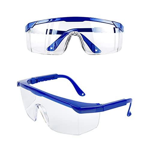 JUHONNZ Gafas de Protección,2 PCS Gafas de Seguridad Gafas Protectoras Antivaho Gafas a Prueba de Polvo para Niños Adultos Protección Ocular con Lentes de PC y Más Gruesas para Actividades Aire Libre