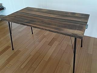 鉄脚 テーブル アイアンテーブル ダイニングテーブル 作業台 70cmx130cm ヴィンテージブラック
