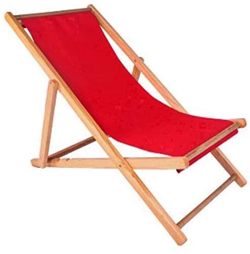 Tumbona Sillas de jardín Tumbona plegable Tumbona de playa, Silla de playa plegable de madera de gravedad cero Siesta Chaise Longue Silla reclinable para balcón plegable (Color, Blanco), Rojo Good