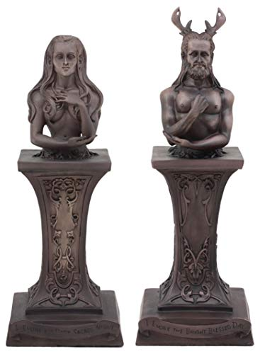 Ebros Neopaganism Wiccan Primary Deity Statue Featuring The Masculine Horned God Or Feminine Crescent Moon Triple Goddess Busts On Pedestal (Set of Two Triple Moon Goddess and Horned God)