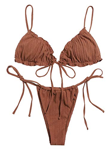 SOLY HUX Women's Frill Trim Triangle Top and Tie Side Bikini Set Two Piece Swimsuits Brown M