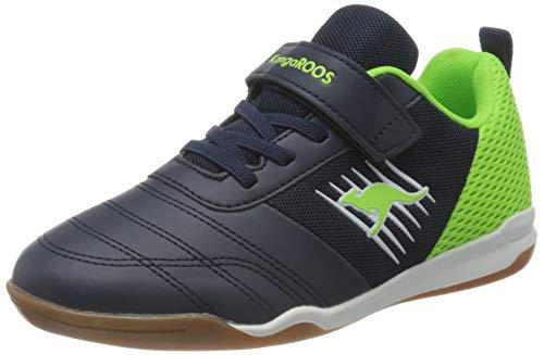 KangaROOS Unisex-Kinder Super Court EV Sneaker, Dark Navy/Lime 4054, 31 EU