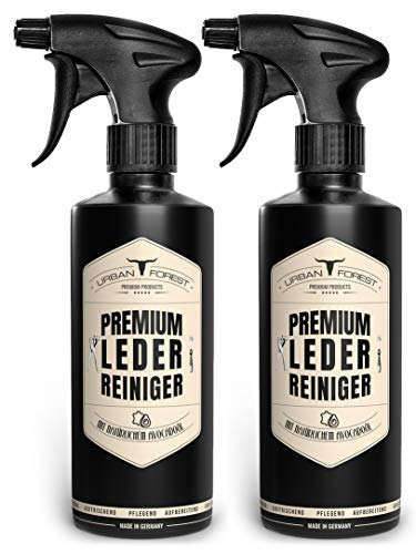 URBAN FOREST Premium LEDERREINIGER optimal zur Reinigung von Leder Lederpflege für Auto Möbel Motorradbekleidung Handtaschen Ledercouch Schuhe Sattel mit natürlichem Avocado-Öl, Set: 2 x 500ml