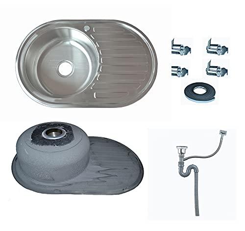Omeere Fregadero pequeño de acero inoxidable 304 de 0,8 mm para cocina o camping (76,5 x 50 x 17 cm)