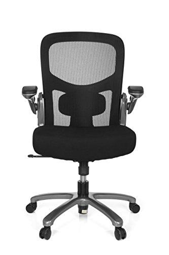 hjh OFFICE 736120 Büro-Schreibtisch-Stuhl bis 220 kg Instructor T XXL Netz-Stoff, Titan Schwarz, klappbare Armlehnen