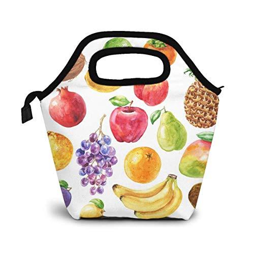 VimcustomPr Bolsa de almuerzo reutilizable, de piña, manzana y plátano, bolsa de almuerzo de picnic, térmica, lonchera gourmet, uvas naranjas y granada, bolsa térmica