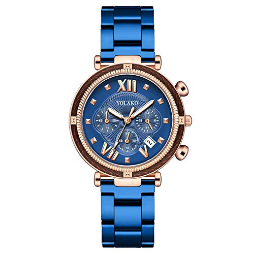 AxiBa relógios femininos pulseira de aço inoxidável relógio de pulso redondo moda relógios femininos, D