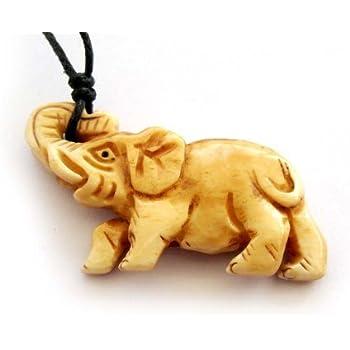 Amazon Com Ovalbuy Ox Bone Carved Elephant Pendant Necklace Jewelry