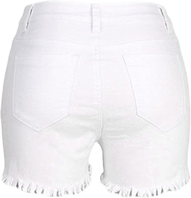 Women's Sexy Butt Lifting Denim Shorts High Waiste Raw Hem Jeans Shorts Multi Button Frayed Distressed Hot Short Jeans