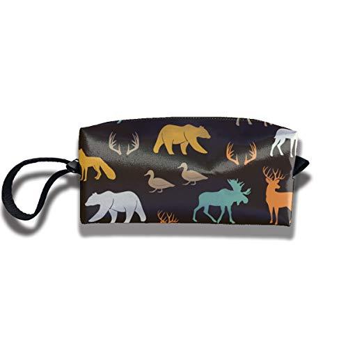 Bbhappiness Pouch Handbag Cosmetics Bag Case Purse Travel & Home Portable Make-up Receive Bag Woodland Animals In Dark Rye