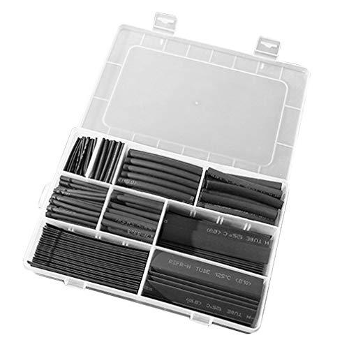 HIXISTO Cable Sleeves,Cubre Cables 385 unids/Caja de poliolefina encogida surtida de Manga...