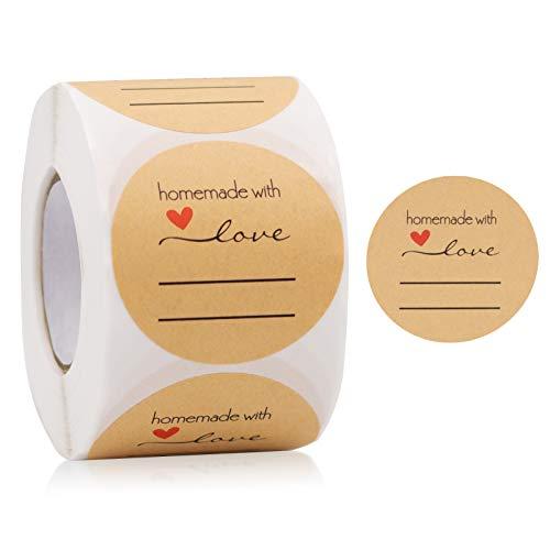 500 Stück Kraftpapier Aufkleber, 5 cm Runde Etiketten, Selbstklebender Sticker für Gläser, Marmeladen, Geschenktüten, Briefumschlag, Hochzeit, Thanksgiving