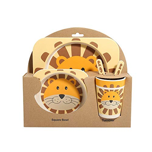 Animal Cartoon Pattern Bamboo Fiber Children'S Tableware Set of Five, Home Essential, Can Be Used for Travel, Easy to Carry And Easy to Clean,lion
