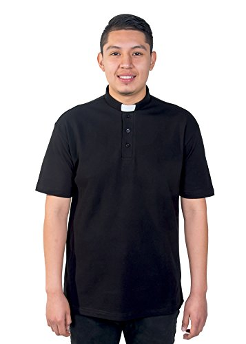 Mercy Robes Mens Clergy Polo Short Sleeves TAB Shirt (Black) (6XL, Black)