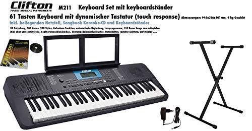 Clifton Keyboard M211 USB MIDI 61 anschlagdyn. Tasten Netzteil Komplettset mit Ständer Notenbuch und Karaoke CD