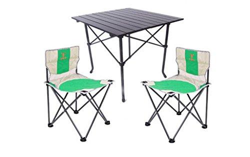 W/C/X Tragbare Falten Tische Und Stühle Lehnstuhl Aluminiumlegierung Außen Gastronomie Barbecue Camping Reise Tische Und Stühle Set DREI Fünf Sätze, Grasgrün (Size : M)