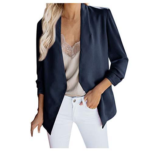 Vintress vrouwen slanke lange mouw zijde satijn werk Office Blazer No-Buckle Open voorzijde lichtgewicht Blazer Jacket Suits, S-5X