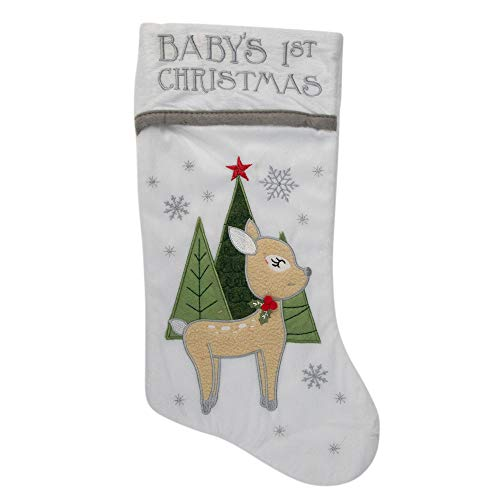 20' White Baby's First Christmas Stocking with Baby Deer and Plush White Cuff