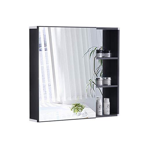 Armoire De Toilette Avec Porte Miroir Espace En Aluminium Armoire De Toilette Boîte Pour Miroir De Salle De Bain Armoire De Salle De Bain Murale (Color : Black, Size : 73 * 13 * 68cm)