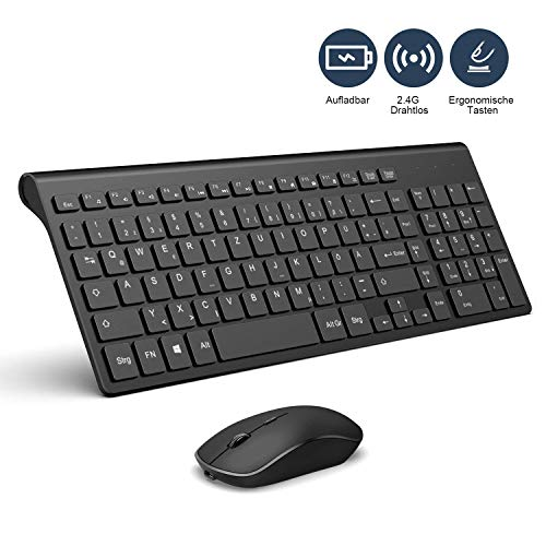 J JOYACCESS Wiederaufladbar Tastatur Und Maus Set Kabellos, 2.4GHz Ultra Slim Silent Funktastatur + 2400DPI Optische Maus, QWERTZ Deutsches Layout, für PC/Smart TV/Desktop/Laptop/Windows - Schwarz