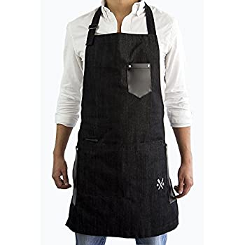 PESANI Mandil Negro Mezclilla para Restaurante, Chef, meseros, Hostess, me…
