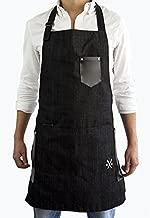 MASHO Mandil-Delantal de mezclilla para chef, meseros, cocineros, parrilleros, delantal para carne asada color negro.