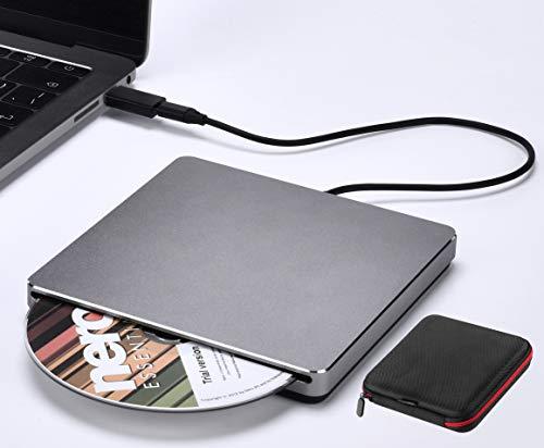 NOLYTH External DVD Drive Slim Aviation Aluminum Alloy USB 3.0 USB C Slot-in CD DVD Burner Drive Portable CD DVD Reader Player for Laptop MacBook Air Pro Mac PC Windows Desktop