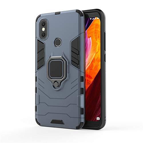 Xiaomi Mi A2 Hülle, Mi 6X Hülle, MHHQ Hybrid 2in1 TPU+PC Schutzhülle Rugged Armor with Magnetic Car Mount Hülle Cover Dual Layer Bumper Backcover mit Ständer für Xiaomi Mi A2/Mi 6X -Black Plus Gray