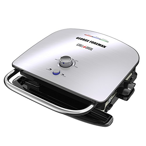 George Foreman GBR5750SSQ Grill & Broil 7-in-1 Electric Indoor Grill, Broiler, Panini Press, and Waffle Maker, Stainless Steel, Removable Plates, Silver