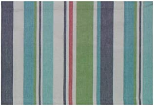 Traders and Company 100% Cotton Green Blue & Red Striped 13x19 Placemat, Set of 6 - Sailfish