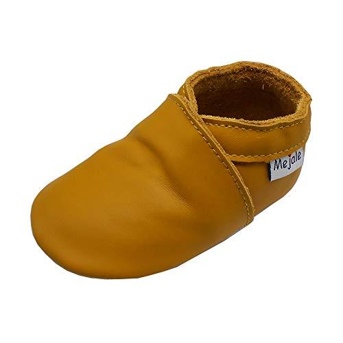 Mejale Mocasines de piel para bebé, suela suave, para niños pequeños, para prewalker, color Amarillo, talla 19/20 EU