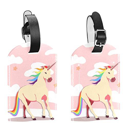 Etiqueta inicial para equipaje de viaje, totalmente flexible, de piel sintética, juego de 2 unidades, diseño de unicornio, color rosa