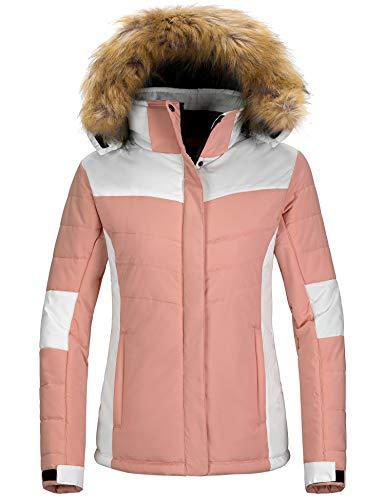 Wantdo Women's Windproof Skiing Jacket Cotton Padded Winter Snow Coat Raincoat Dark Pink S