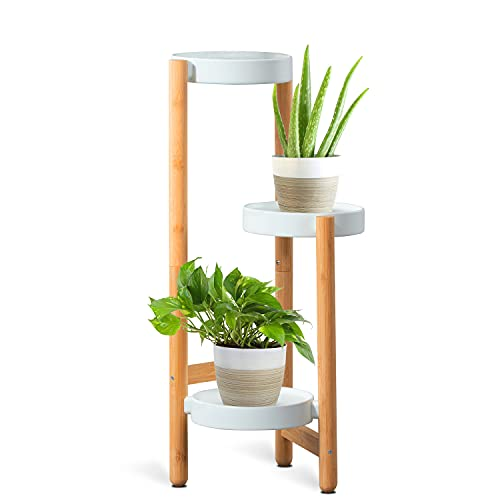 Bamboo Plant Stand for Indoor, 3 Tier Plant Holder for HoVoit Outdoor Corner Plant Shelf Flower Stands for Decorate Garden Living Room (Tall 27.5 inches)
