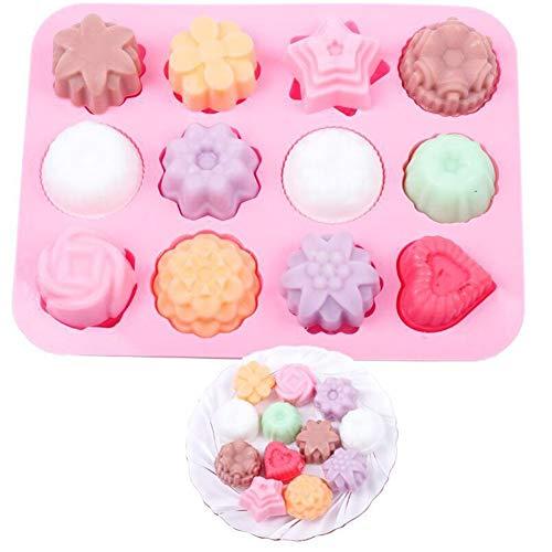 Fablcrew Moule à Cake Moule en silicone Creative Fleurs étoile Cœur Moule à gâteau pour gâteaux Jelly Savon Rose