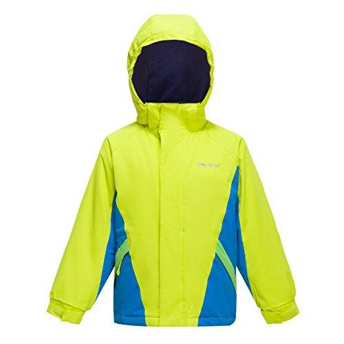 YINGJIELIDE Skijacke für Kinder - Schneedicht, verstellbare Bündchen, Kinderjacke mit Fleecefutter, integrierter Schneerock, Winterjacke- Hält Kinder warm (128(7-8 Jahre), Fluoreszentes Grün)