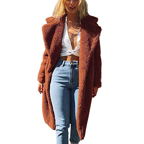 CixNy Coat Women Ladies Autumn Winter Warm Faux Fur Pure Color Zipper Long Jacket Casual Long Sleeve Turndown Coat (Brown, Small)