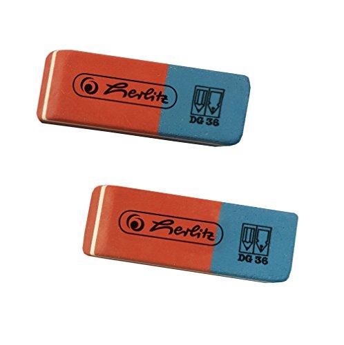 Herlitz 2 Radierer, rote Seite für Graphit/blaue Seite für Tinte