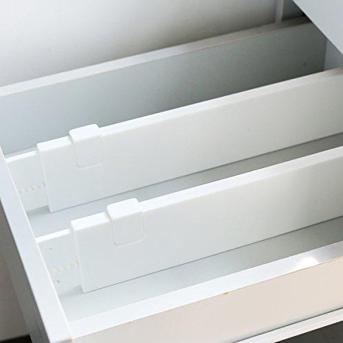 4X Divisores de Cajones Ajustable Separadores de Cajones para Cocinas Dormitorios Organizadores Hecho de Plástico (Talla úica)